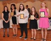 Mrs. Palmer with World Language Award winners: Tatianna Hill, Katie Houde, Sabrina Sprague and Rebecca Taylor.