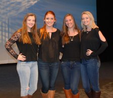 Noelle Atkins, Kaylee Patten, Colleen McCarthy and Colleen Burke were the emcees for the Mr. Rockland contest. photo by Sophie McLellan