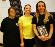 Doreen Arena, Marielle Bouchard and Jacqui Berardi from Player's. They won the People's Choice Award for the second year in a row at Pizzapalooza. Veritas photo