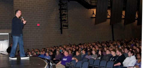 Chris Herren speaks to an assembly of Rockland High School students on Friday, Jan. 13. photo by Maddie Gear