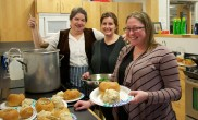 Adrienne Donovan, Freea Leahy and Shelley Coulombe organized the kitchen and the servers