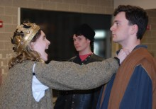 Shandi Austin as Macbeth is not happy to learn that Fleance has escaped. Joe Naughton plays one of the murderers and Adam Dalton plays another. Veritas photo