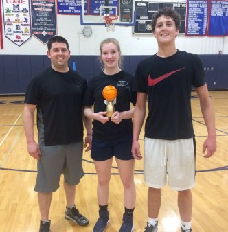 Mike Doyle, Caroline Elie and Andrew Starkey won the Nets for Nets 3v3 tournament for 2017. The SGC raised over $300 for the Charity Nothing but Nets. photo courtesy of SGC