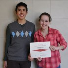 Sean Vo and Sophie McLellan display the Veritas' Highest Achievement Award for the Veritas' print edition, given by the New England Scholastic Press Association on May 5.
