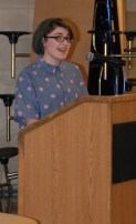 Shandi Austin gives a farewell speech at the drama banquet.