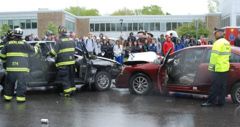 Rockland Police and Fire Departments respond to the accident.