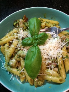 Broad bean, mint and basil pesto pasta
