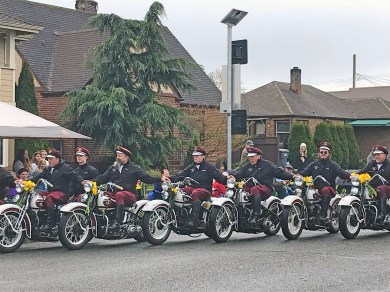 Members of the Seattle Cossacks Motorcycle Stunt and Drill Team provided great synchronized motorcycle riding.