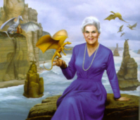Anne McCaffrey painted as though sitting amongst firelizards on the stormy shore of a Pernese coast.