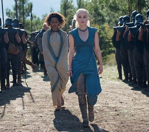 Daenerys Targaryen, stomping down her lines of men.
