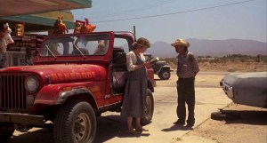 Sarah Connor from the epilogue, pregnant, asking directions at a gas station.