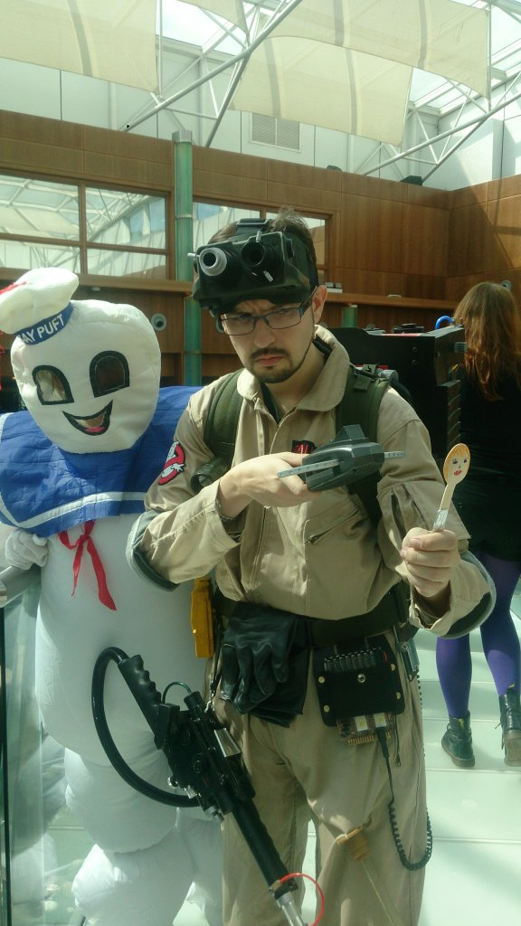 A Ghostbuster and the Stay Puffed Marshmallow Man pose with the Spoon