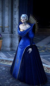 Empress Celene at the Winter Palace. A white woman with white blonde hair in a blue ballgown with a silver mask.