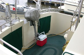 Outboard engine mount on transom door