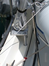 A close up of the davit mounting system
