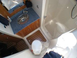 Clear plexiglass door in master shower
