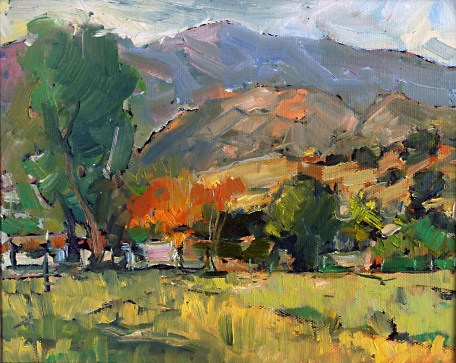"""Calabasas Morning, Oil on Canvas, 9"""" x 12"""" - SOLD"""