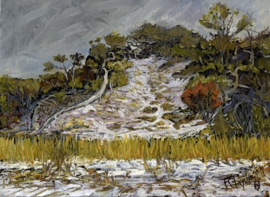 """Clinch Dunes Study #3, oil on panel, 9"""" x 12"""" - SOLD"""