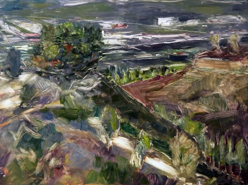 """Griffith Park - View Towards Amir's Garden, oil on panel, 9"""" x 12"""" - SOLD"""