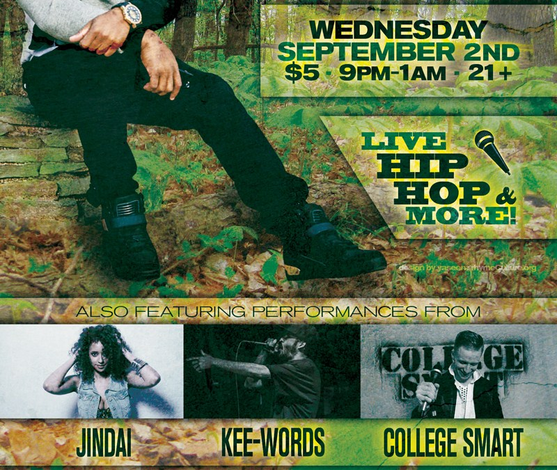 Eddie James, Jindai, Kee-Words, College Smart – Wednesday 9/2/15 @ Jimmy's Saloon, Newport, RI