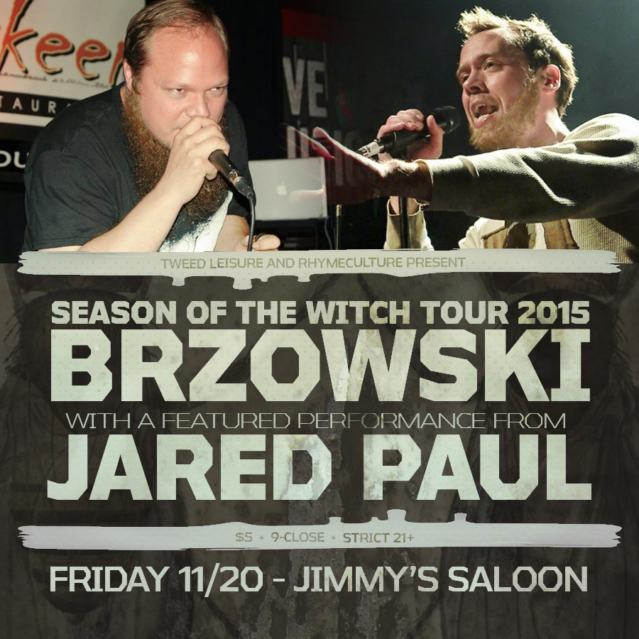 BRZOWSKI // JARED PAUL // IONEYE - FRIDAY 11/20/15 - JIMMY'S SALOON, NEWPORT, RI