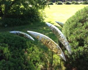 Salmon garden sculpture
