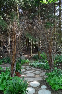 A willow archway leads into a hideaway within a conifer grove.