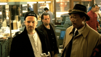 David Fincher and Morgan Freeman on the set of Seven (1995)