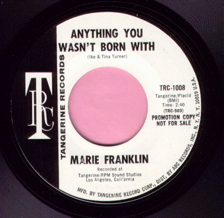 """Marie Franklin """" Anything You Wasn't Born With """" Tangerine Demo Vg+"""