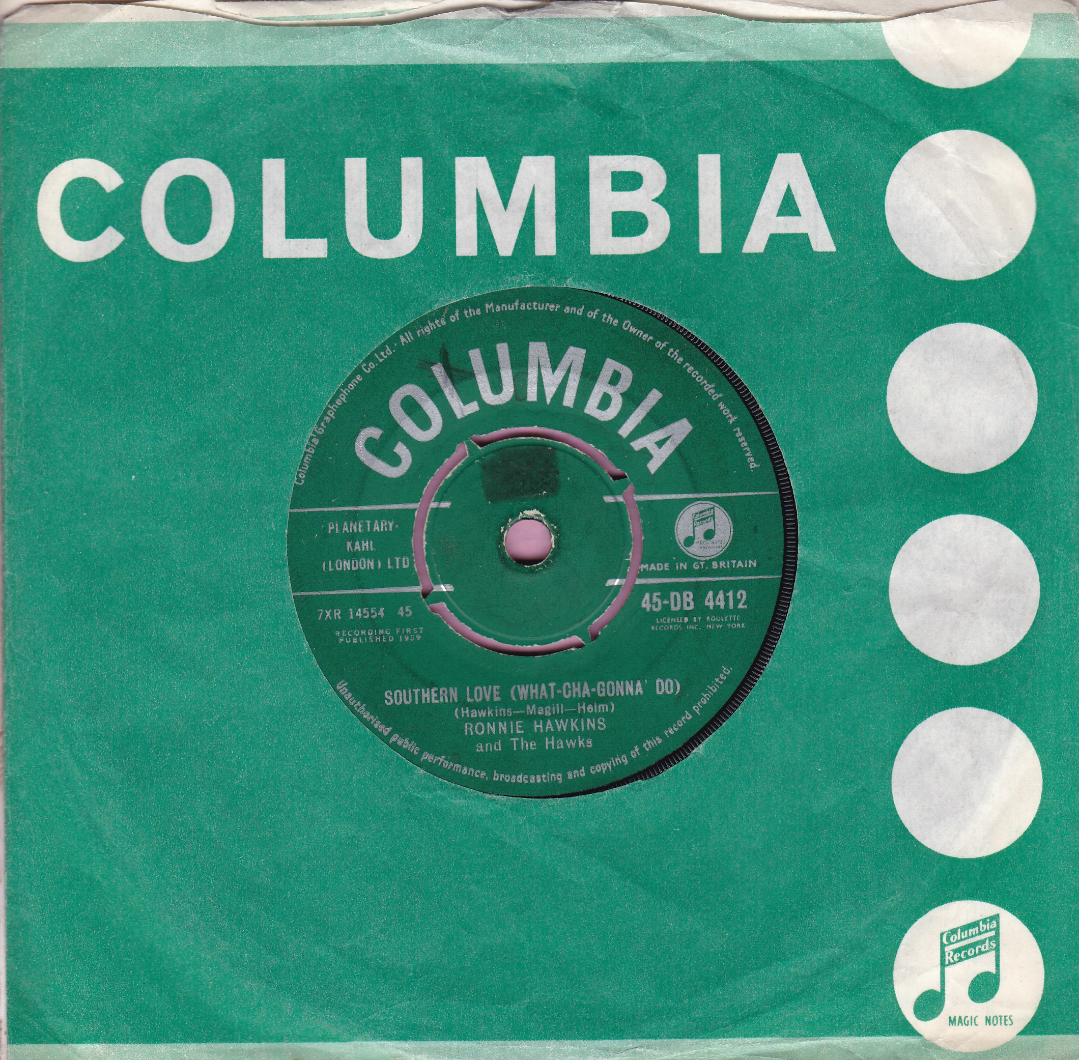 "Ronnie Hawkins "" Southern Love ( What-Cha-Gonna' Do ) "" Columbia Vg+"
