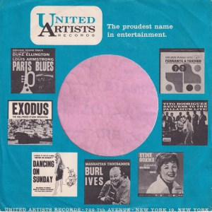 United Artists Records U.S.A. With Black & White Lp Thumbnails Company Sleeve 1961 – 1964