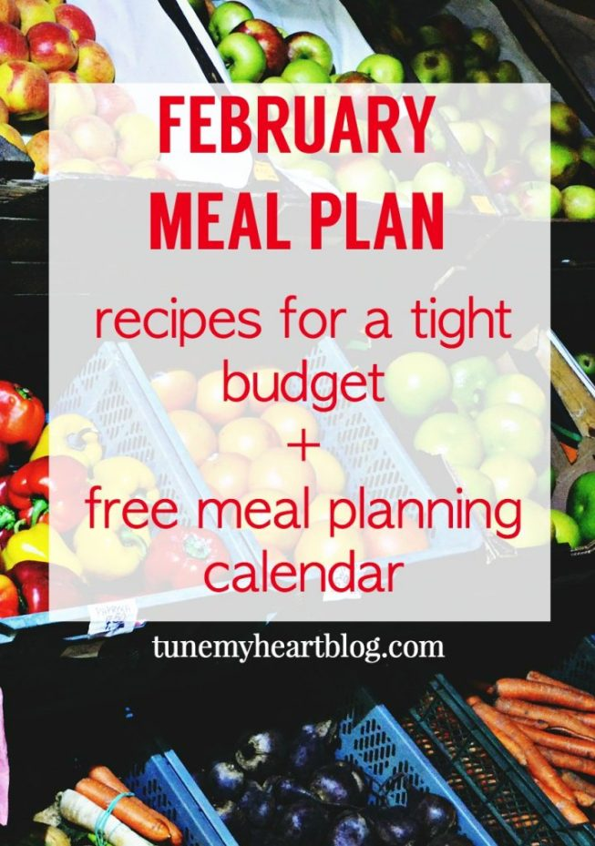 February's Monthly Meal Plan: recipes with links & a free printable calendar for monthly meal planning.