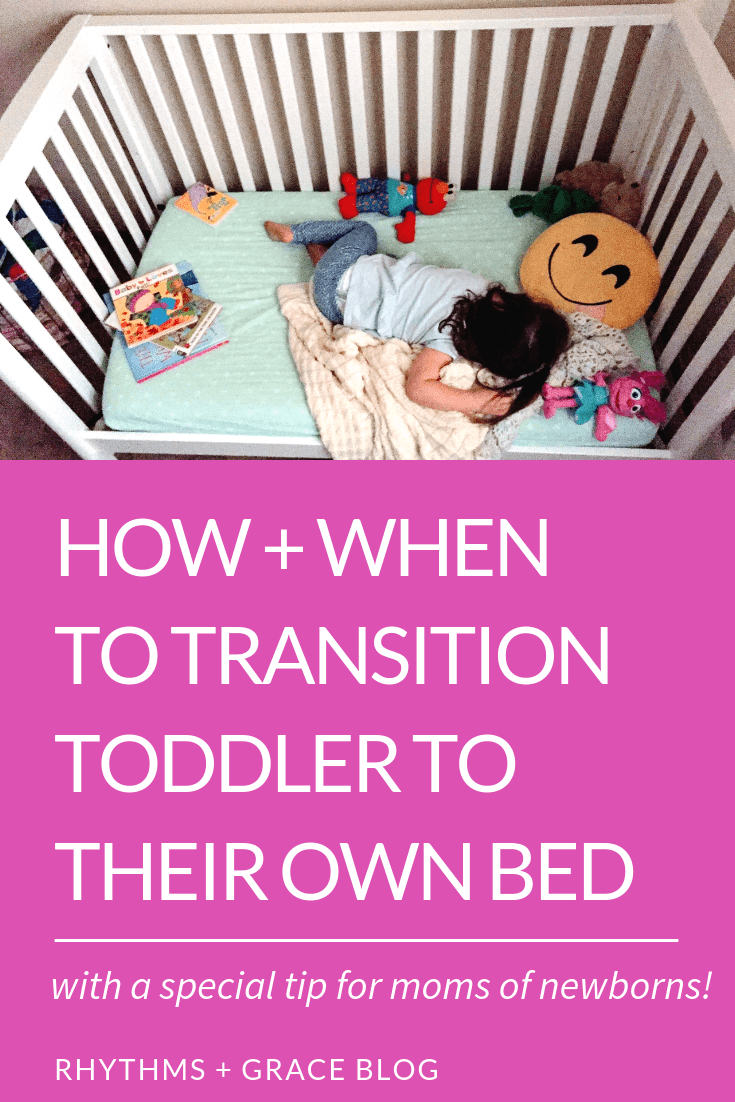 Should I move toddler out of crib for the baby? or should we wait? A mom of 4 gives tips on how and when to transition toddler to own big kid bed. #parentingtips #parentingadvice