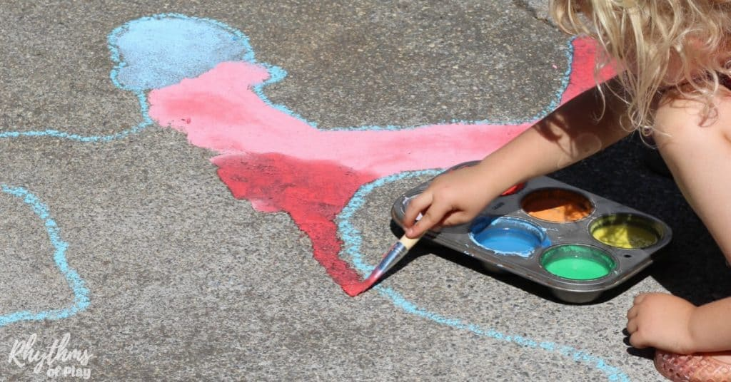 Shadow Art Outdoor Science For Kids With DIY Chalk Paint