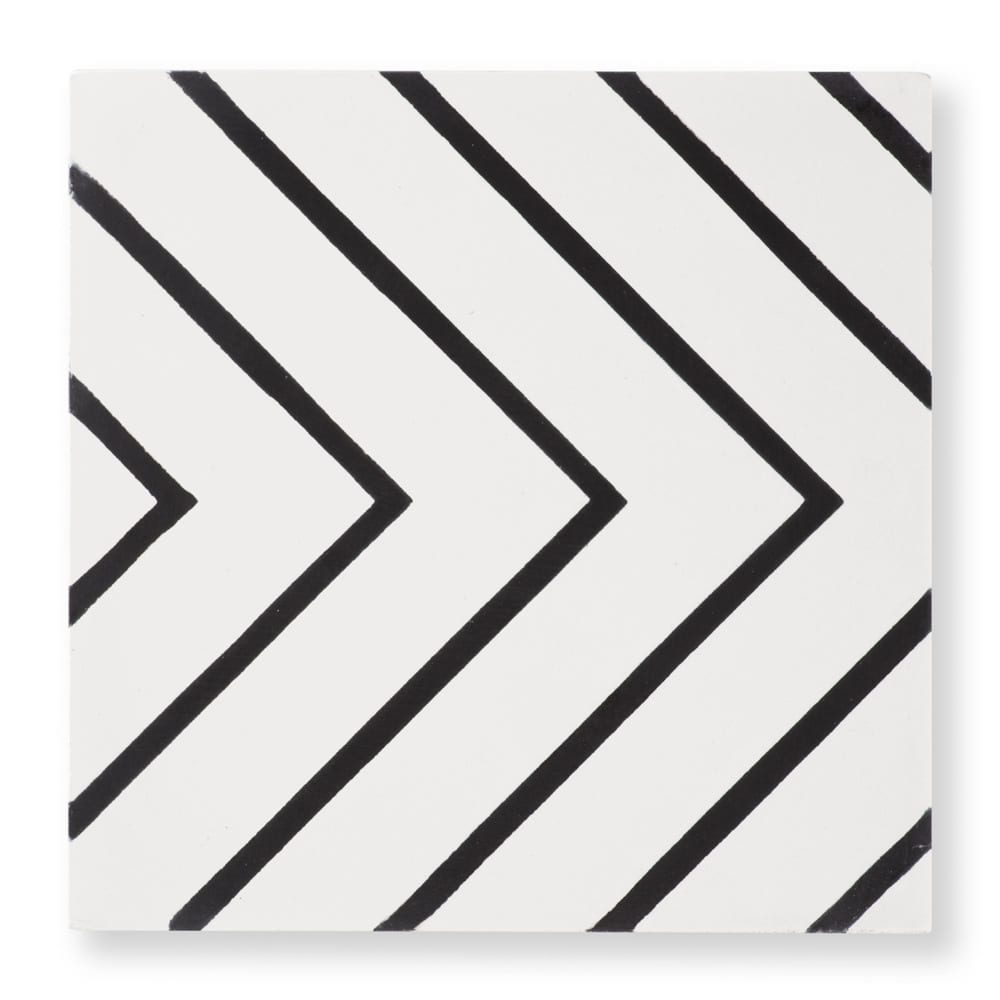 maya white cement tile black and