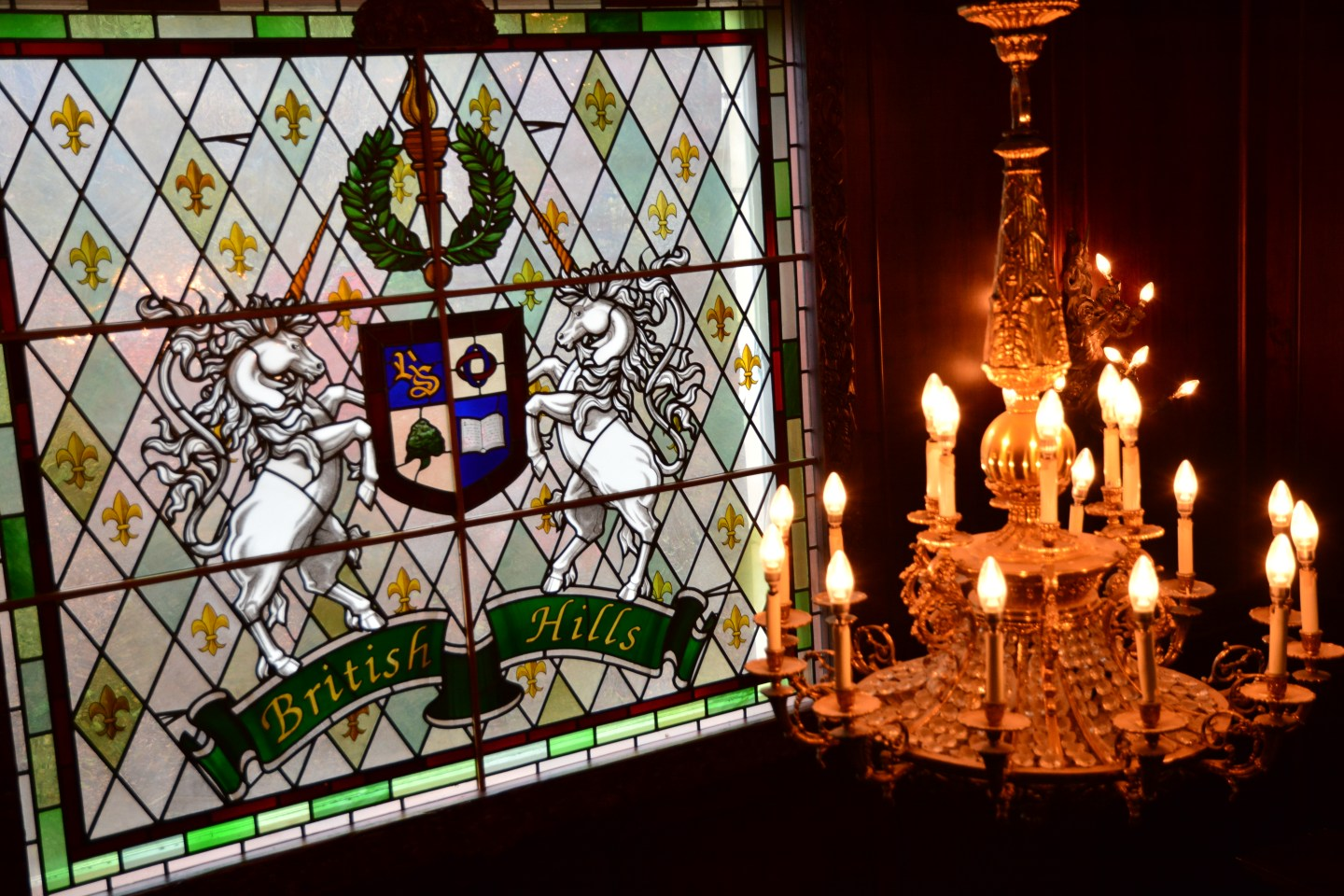 This is the British Hills coat of arms stained glass. This was made in the Cathedral workshop in Wiltshire, where they have been producing these for the past 300 years. The design includes traditional heraldic emblems, embodying the principles British Hills hopes to represent.