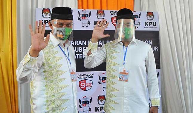 Paslon Gubernur Sumbar Mahyeldi dan Audy Joinaldy.
