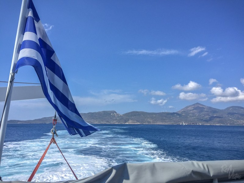 Boat trip in Greece and flag