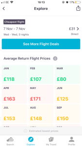 Skyscanner - price best month