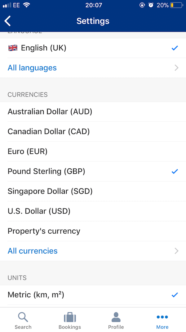 Booking.com - currency