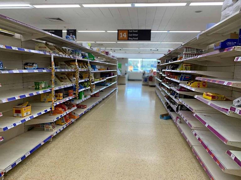 Empty shelves in supermarket - Coronavirus impact