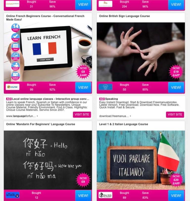 Wowcher - online language courses