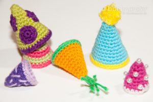 Amigurumi - Partyhütchen häkeln - alle Größen - Anleitung - kostenlose Häkelanleitung