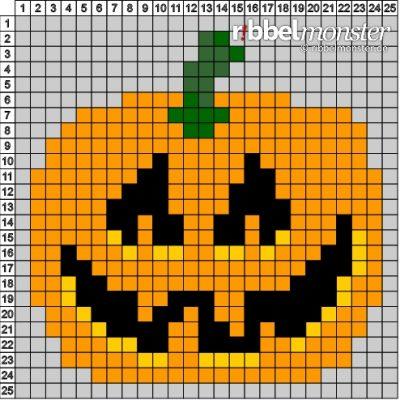 Pixelmuster - 25x25 - Halloween Kürbis - Vorlage
