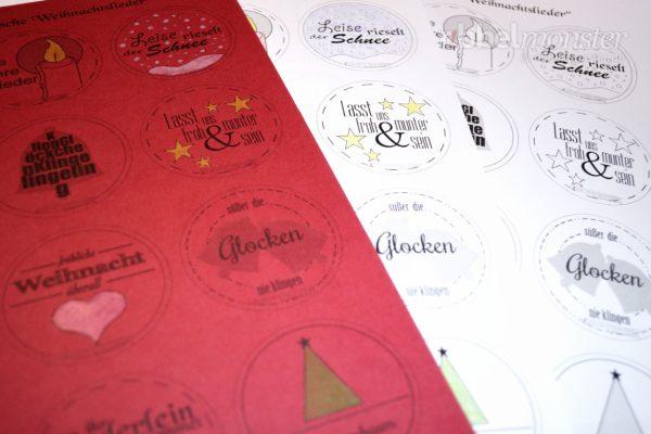 Druckvorlage - Buttons - Deutsche Weihnachtslieder - kostenlose Anleitung - Geschenkanhänger - Anhänger für Weihnachtsgeschenke