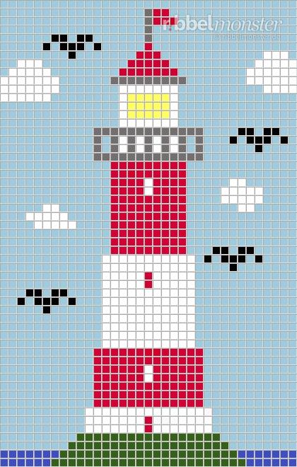 Pixelmuster Leuchtturm Im Meer 35x55 Premium Kostenlose
