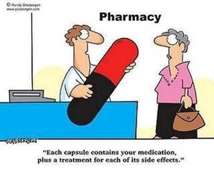 It takes fortitude to choke down the giant pill in this cartoon!