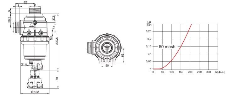 Dimensioni FILTRO ASPIR 3142463 ARAG