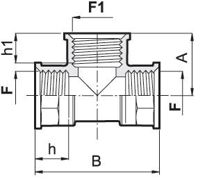 Disegno tecnico RACCORDO A T G1 1 4M 1302050 ARAG