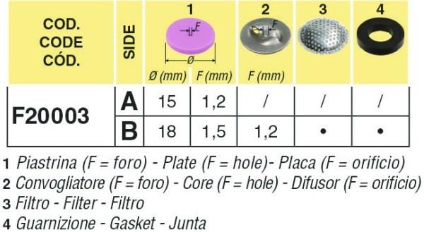 2 LUNGO ARAG|Dimensioni GETTO DOPPIO ARAG F20003|Piastrine GETTO DOPPIO ARAG F20003